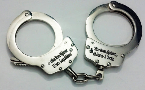 ENGRAVED Personalized Nickle HAND Handcuffs POLICE CUFF Double Locking Steel Key
