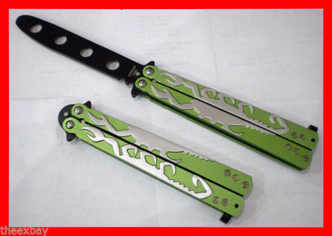 Green Scorpion Black Blade Dull METAL Practice BALISONG BUTTERFLY Knife Trainer
