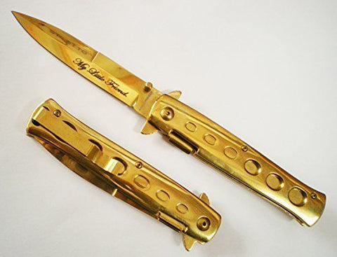 All Gold Scarface Tony Montana My Little Friend Blade Godfather POCKET KNIFE