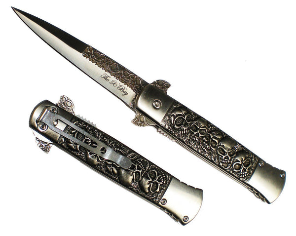 Black Embedded Skull Handle & Blade Michael Corleone SPRING ASSIST  Pocket Knife