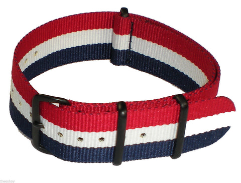 22mm 3 Ring Red White Blue Nylon Military Watch Band Strap Fits Luminox CASIO
