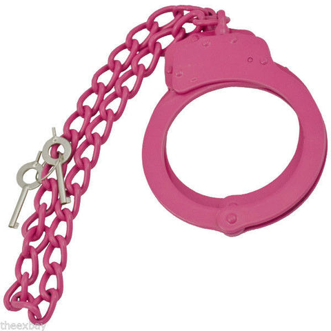 PINK Steel LEG CUFFS Police Double Locking Cuffs Cuff WIth Keys Shackles Slave