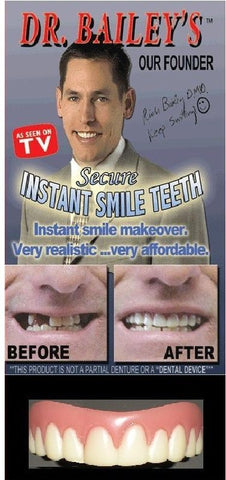 SECURE INSTANT SMILE False Fake Cosmetic Artificial Veneer Teeth MEDIUM