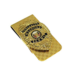 CWP CCW Concealed Weapons Carry Permit Mini Badge Money Clip Gold