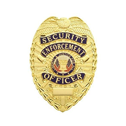 Gold Plated Security Enforcement Officer or Guard Metal Badge