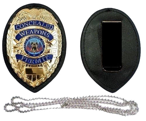 Copy of GOLD CONCEALED CARRY PERMIT CCW BADGE + HOLDER and WITH CLIP + NECK CHAIN