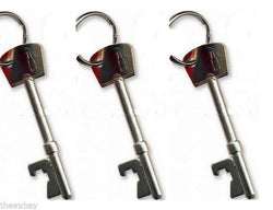 (3) THREE Metal KEY Style Bottle Opener Key Ring Keychain Bar Tool BEER SODA POP