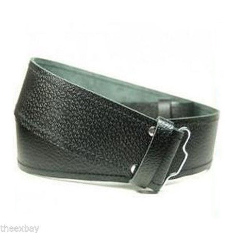 Scottish Black LEATHER KILT BELT  Fits Sizes 28-46 Grained Thick Hide Sporran