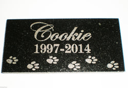 "6"" x 12"" Name & Date Pet Memorial GRANITE Grave Marker Stone With Small Paws"