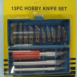 13pc Piece 13 Razor Knife Wood Carver Airplane Model 3 Handles Tool Hobby Case