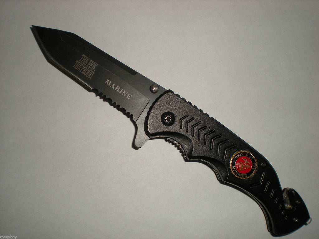 The Few The Proud Marines Spring Assist Switch Knife Tanto Blade