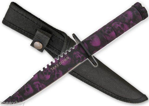 Purple Skull Survival Knife With Sheath & Compass Zombie Apocalypse Killer