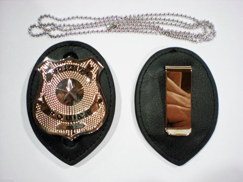 Leather Detective Chain Badge Holder & Special Police Toy Costume Novelty Badge