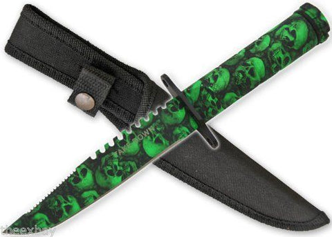 Green Skull Survival Knife With Sheath & Compass Zombie Apocalypse Killer