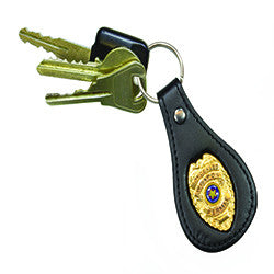 Gold Concealed Weapons Permit Metal Badge Black Leather FOB Smart Keychain