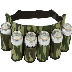 Redneck Camo Beer and Soda Can Six Pack Belt Holster With Camouflage Design