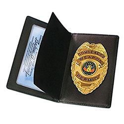 Concealed Weapons Permit Leather Wallet (Badge Not Included)