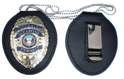 RECESSED HOLDER BELT CLIP + NECK CHAIN for Concealed Weapons Badge NOT INCLUDED!