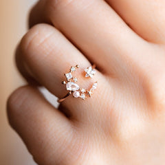 rose gold moon star ring