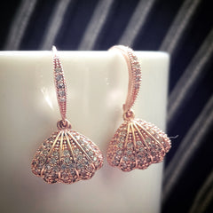 rose gold pave Sea shell earrings