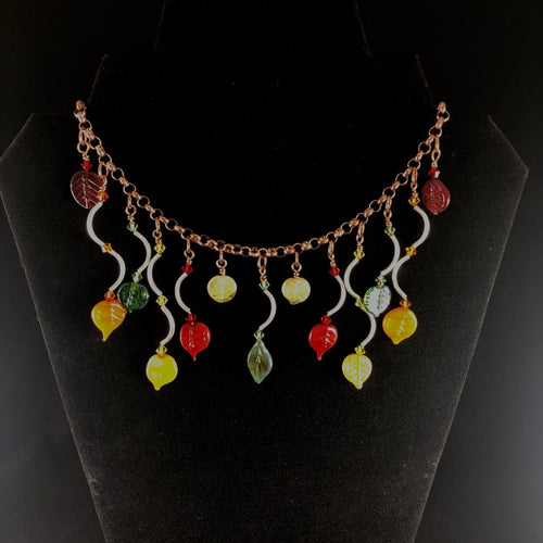 Fallen necklace.  Beautiful fall colors. Fall colored leaves dangle on silver and copper