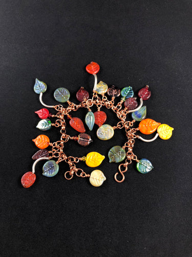 Fallen leaves bracelet.  Made with handmade lampwork leaves.  Fall colors.  Fall fashion. Autumn.