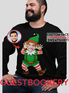 Custom Face Ugly Christmas Elf Sweatshirt - Guestbookery