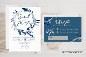 Guestbookery Navy Wedding Invitations