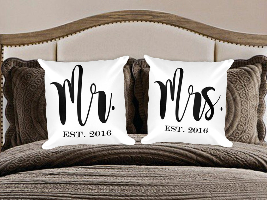 Custom Mr and Mrs Pillows - Guestbookery
