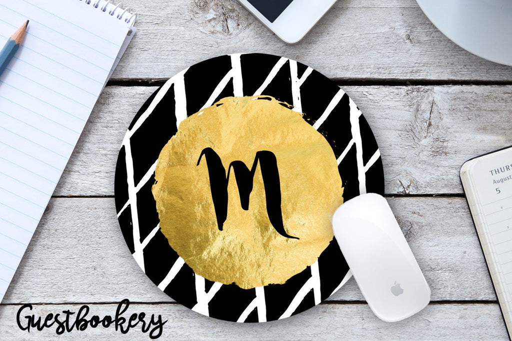 Custom Gold Initial Mousepad - Guestbookery