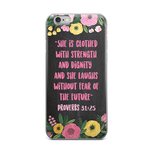 Bible Verse Phone Case - She Is Clothed With Strength And Dignity Proverbs 31 - Guestbookery