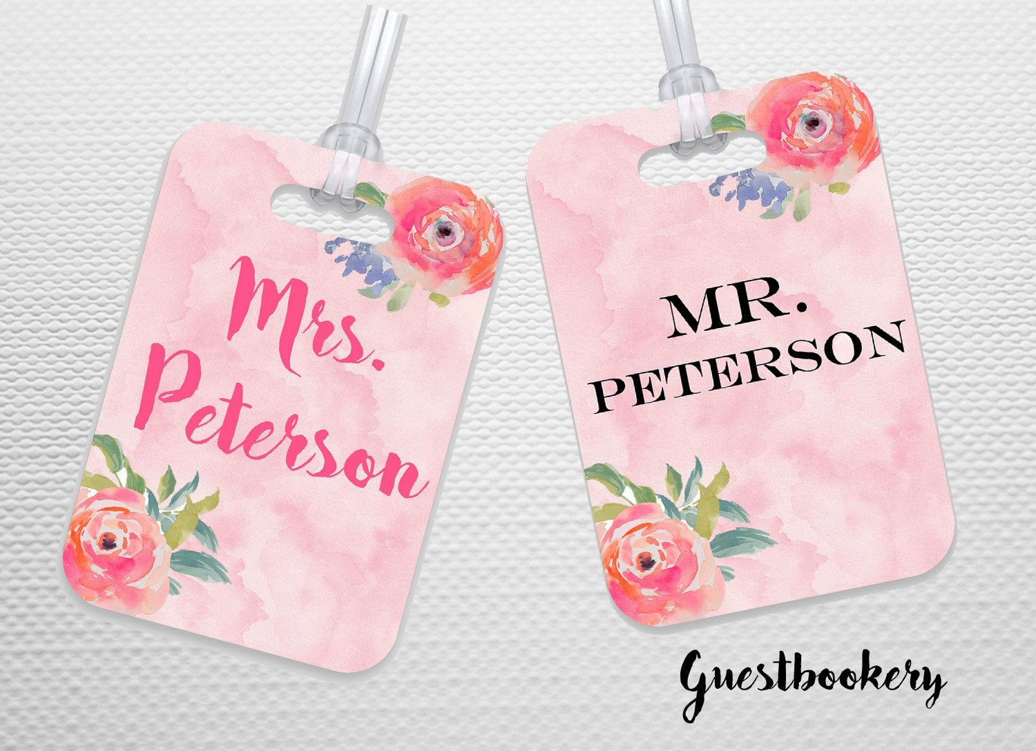 Custom Mr and Mrs Luggage Tags - Guestbookery