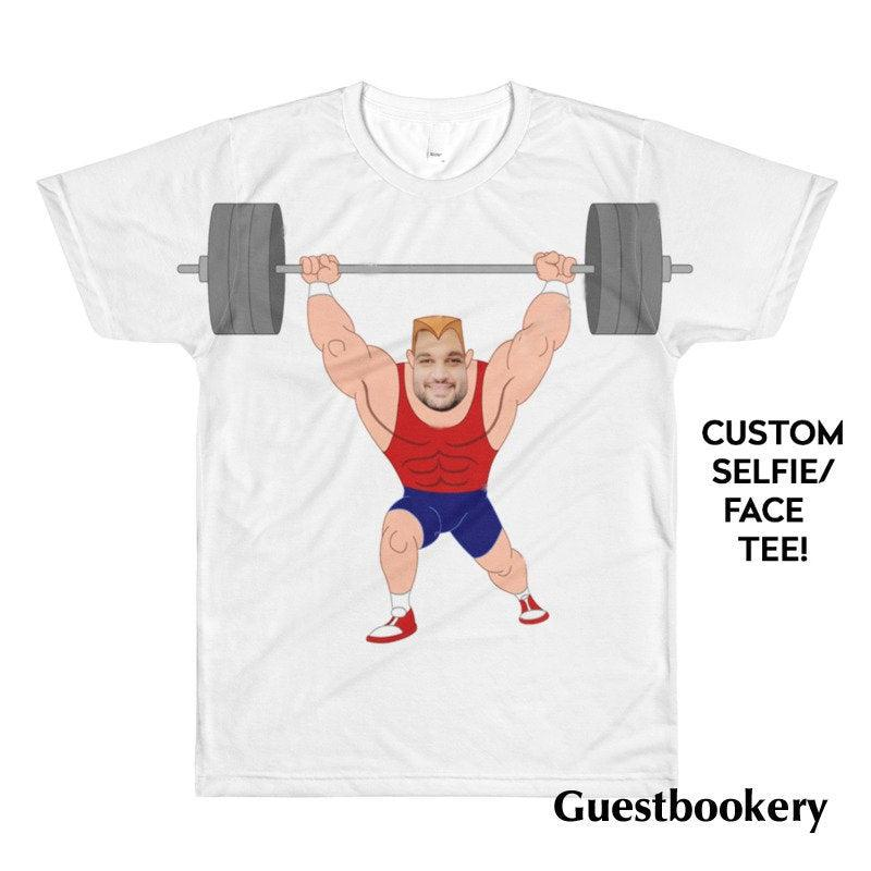 Custom Face Bodybuilder T-shirt - Guestbookery