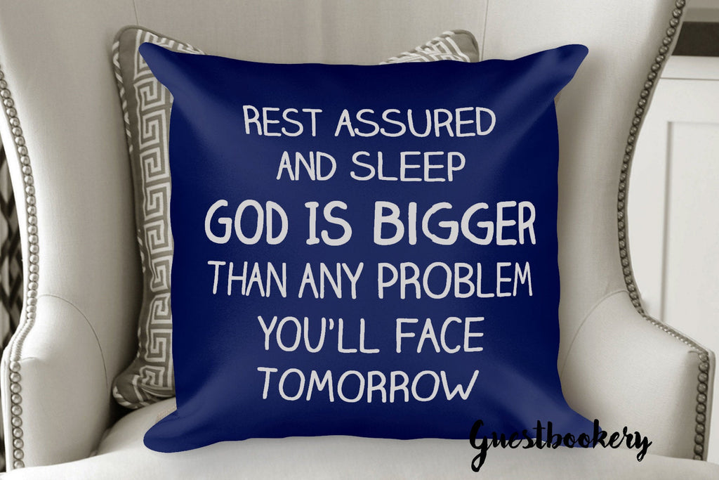 God Is Bigger Than Any Problem Pillow - Guestbookery