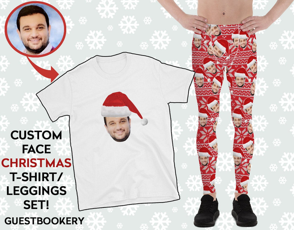 Custom Faces Leggings and Shirt CHRISTMAS SET - MALE - Guestbookery