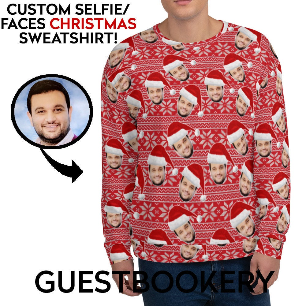 Custom Faces Ugly Christmas Sweatshirt - Guestbookery