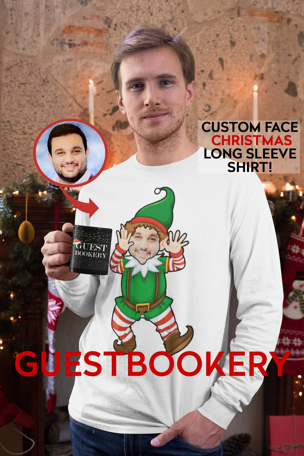 Custom Face Elf Ugly Christmas Long Sleeve Shirt - Guestbookery