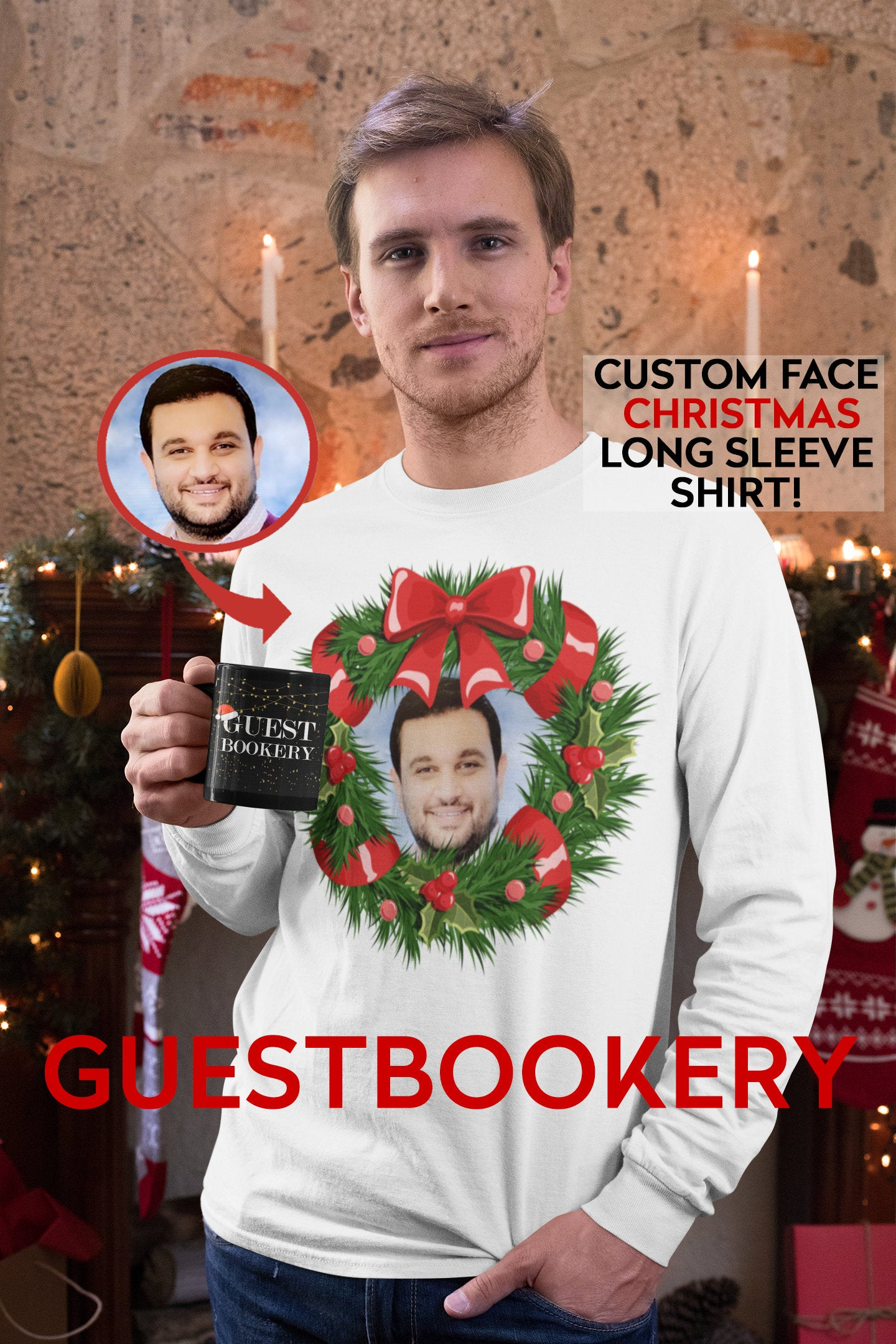 Custom Face Ugly Christmas Long Sleeve Shirt - Wreath - Guestbookery