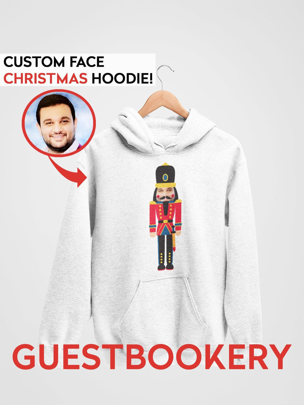 Custom Face Ugly Christmas Hoodie - Nutcracker - Guestbookery