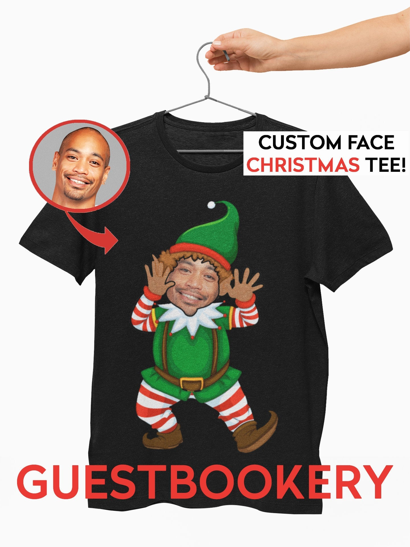 Custom Faces Ugly Christmas T-shirt - Elf - Guestbookery