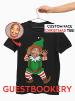 Load image into Gallery viewer, Custom Faces Ugly Christmas T-shirt - Elf - Guestbookery