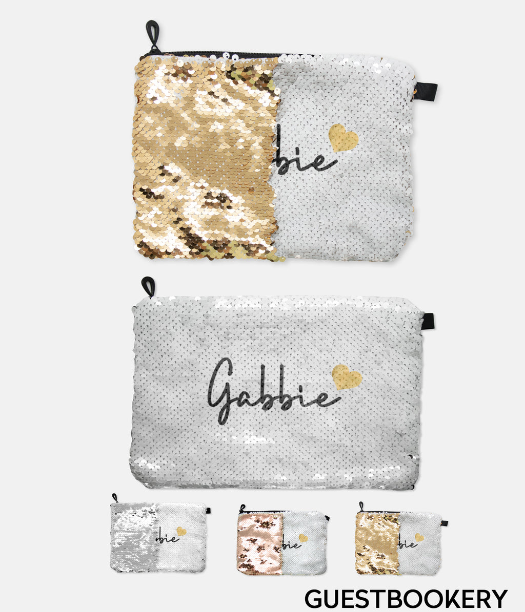 Personalized Sequin Reversible Cosmetic Bag - Guestbookery