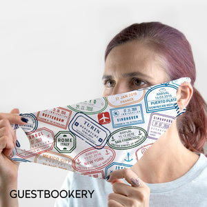 Travel Stamps WASHABLE Face Mask - Guestbookery