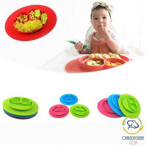 silicone baby plate smiley shape