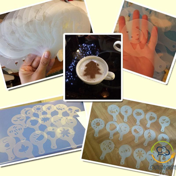 16 Pieces Stencil For Decoration Coffee, Cappuccino, Cake, Hot Chocolate