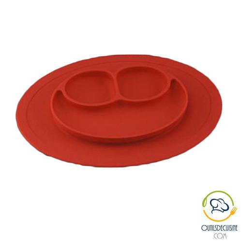 Plate - Smiley Compartmented Baby Silicone Plate - Eat Will Give Smile!