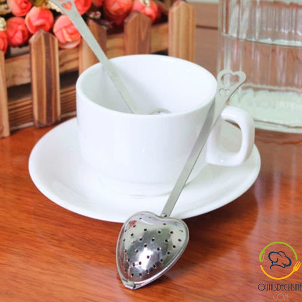Spoon Strainer Filter Tea Infuser Handle With Stainless Steel Heart - Wedding Gift Idea