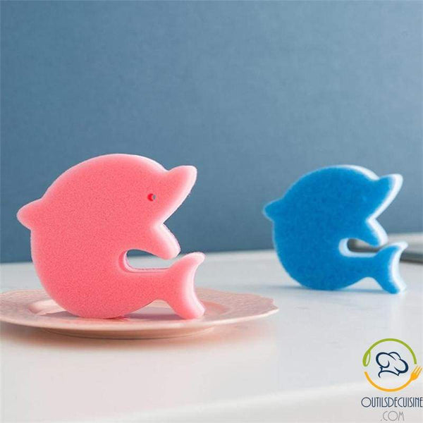 Double-sided Cleaning Sponge Shaped Dolphin