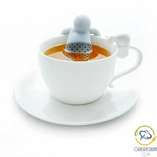 Food grade silicone tea strainer filter odorless for herbal tea in the shape of a stick man