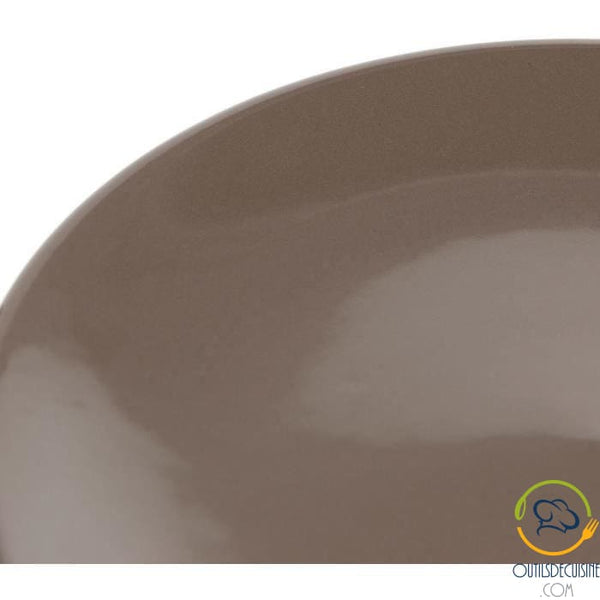 Lot 6 20cm Earthenware Dessert Plates - Taupe Chocolat Tableware Culinary Articles
